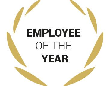Employee of the year gold and black logo