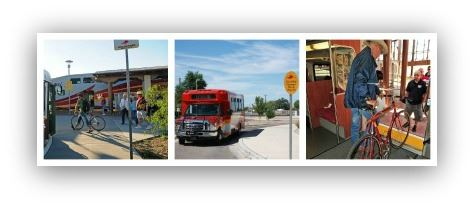 A collage of Photos Showing Bicycles Boarding on the Bus