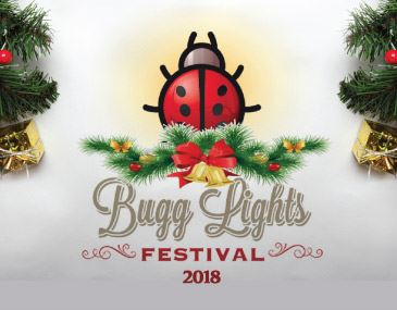 Bugg Lights 2018 Logo with Ladybug and Holly Leaves