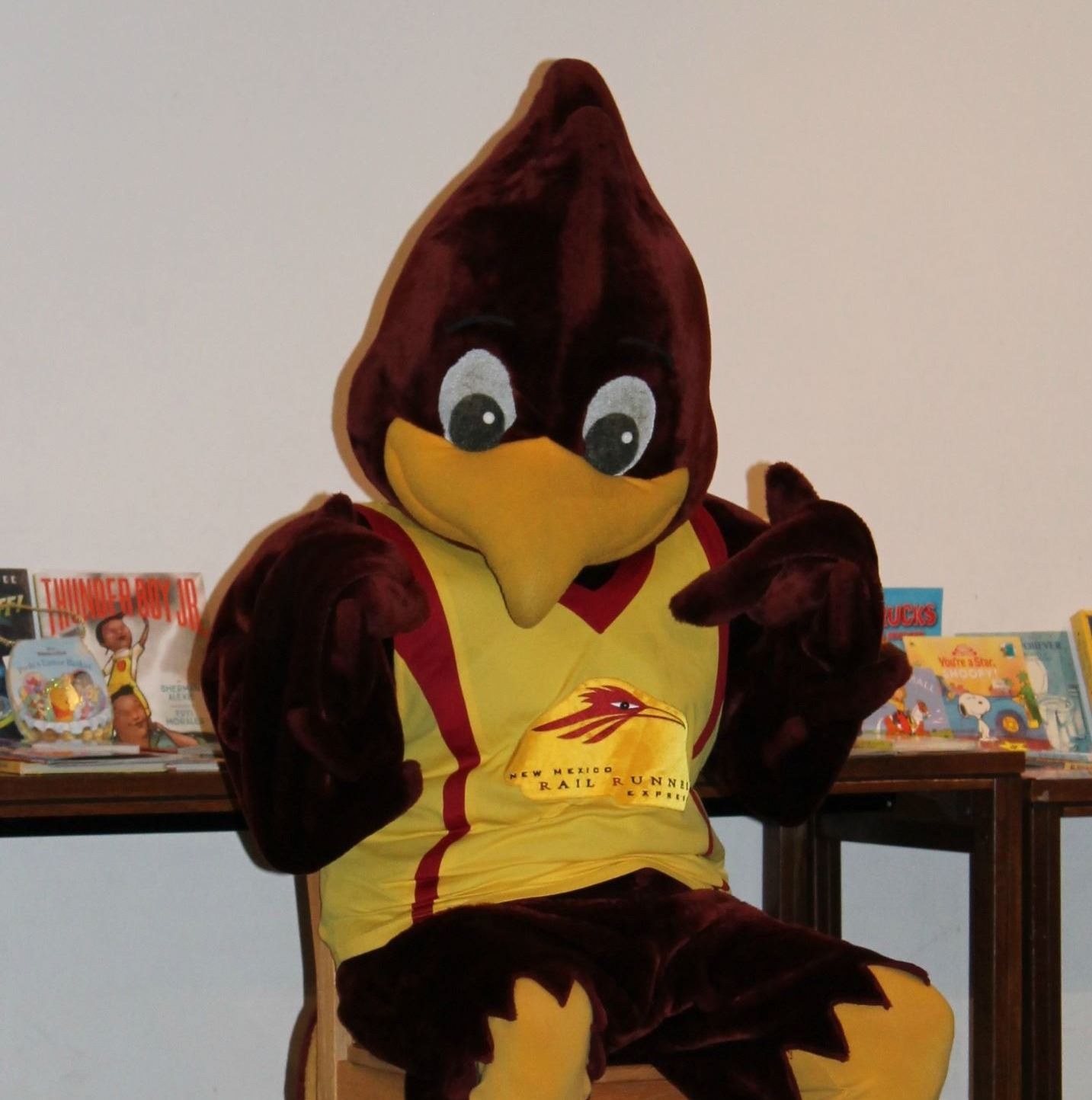 Rail Runner Mascot with Books