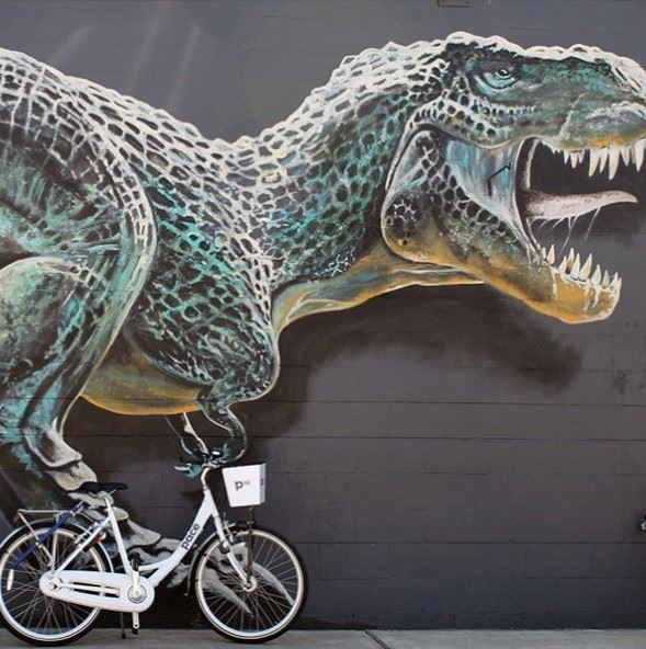 Pace Bike by a Dinosaur Mural