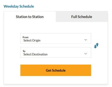 To and From Schedule Options