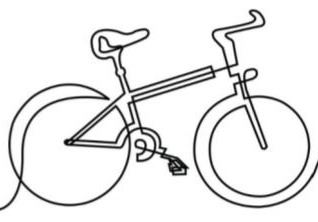 black and white drawing of a bicycle