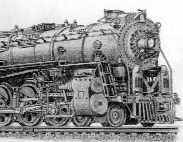 Pencil sketch of a steam locomotive