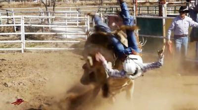 Man Falling During Bull Riding