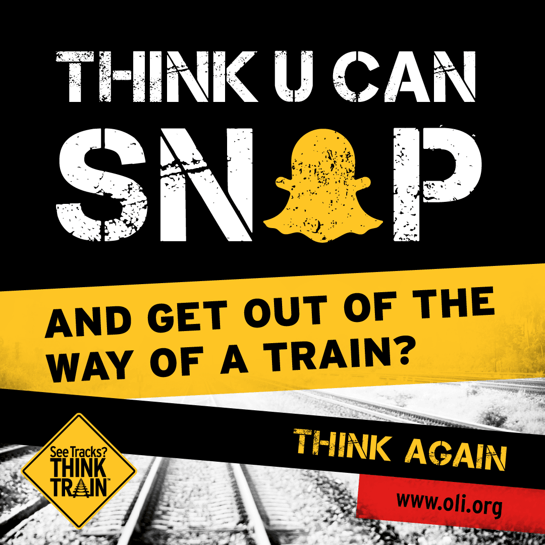 Do not take photos or videos on railroad tracks