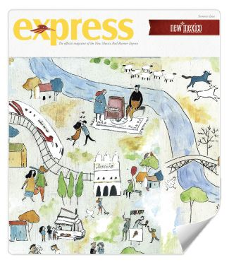 Magazine cover with illustration of a train and people